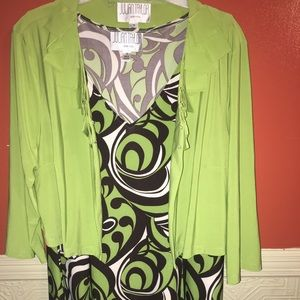 Geometric Sleeveless Dress and Jacket Set Sz 14